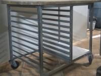 Stół z drewnianym blatem ze stali nierdzewnej #1