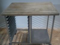 Stół z drewnianym blatem ze stali nierdzewnej #2