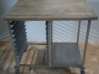 Stół z drewnianym blatem ze stali nierdzewnej #3