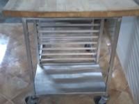 Stół z drewnianym blatem ze stali nierdzewnej #4