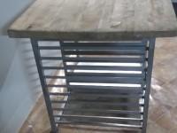 Stół z drewnianym blatem ze stali nierdzewnej #5