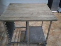 Stół z drewnianym blatem ze stali nierdzewnej #6
