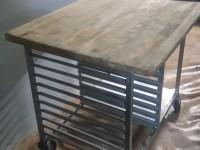 Stół z drewnianym blatem ze stali nierdzewnej #7