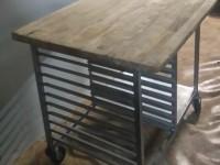 Stół z drewnianym blatem ze stali nierdzewnej #8